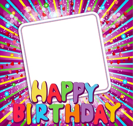 happy birthday text: background with a congratulatory card and says  Illustration