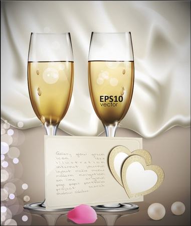 congratulatory background with a beige card with two glasses of white wine, rose petals, pearls, and two hearts Vector