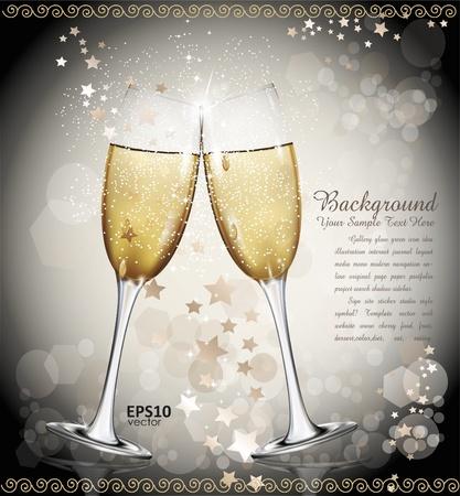 clinking: Fondo de a�o nuevo con dos vasos de vino, las estrellas Vectores