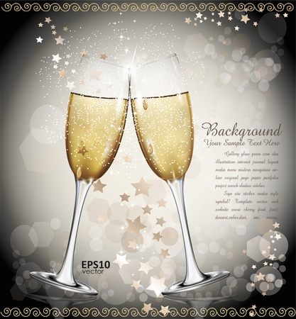 glamorous: New Year background with two glasses of wine, the stars