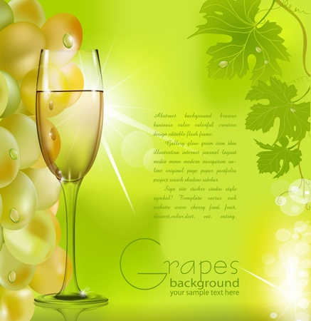 white riesling grape: against the glass of wine grapes and green leaves Illustration