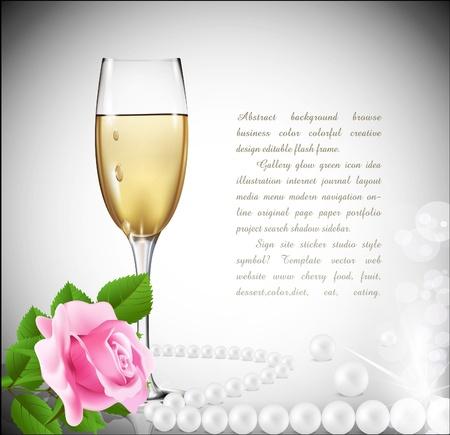 perlas: Fondo de felicitación, con un vaso de vino blanco, Rosa y perlas