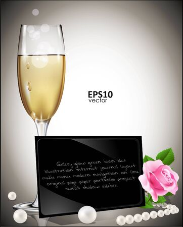 congratulatory background, with a strong black card, a glass of white wine, rose and pearls Vector