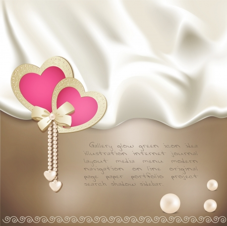 holiday background with beige silk, with two pink hearts and pearls Illustration