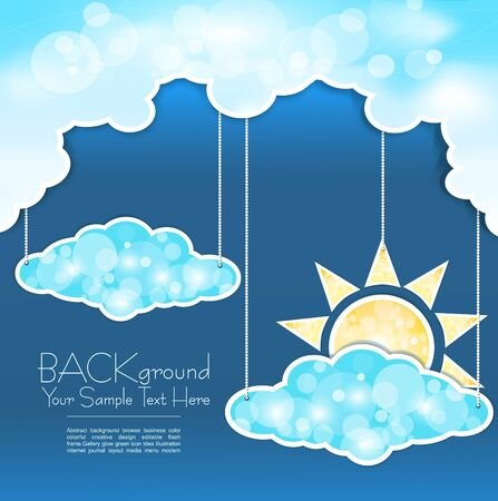 cloudy day: blue abstract background with clouds and sun