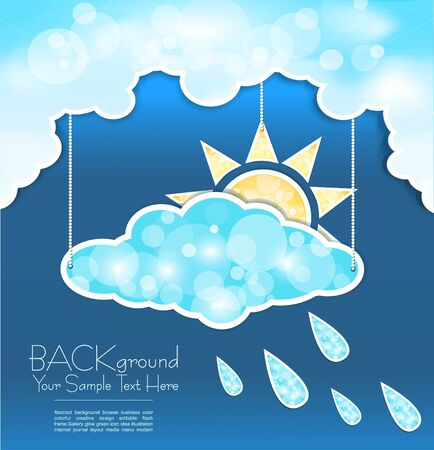 abstract background with blue clouds, sun and rain drops Vector