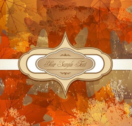bladeren: Grungy achtergrond herfst felicitatie met esdoorn bladeren en label