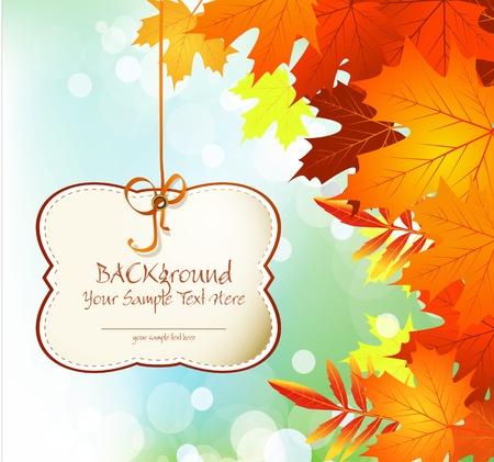 szeptember: őszi gratuláló és ünnepi háttér levelek és a kék ég Illusztráció