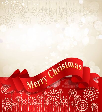 christmas scroll: christmas background with complimentary red ribbon