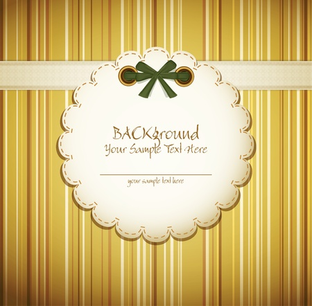 label tag: greeting card on a beige background with bow Illustration