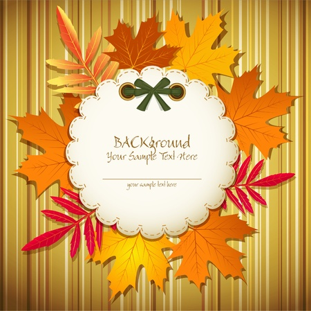 abstract striped background with round card and autumn leaves