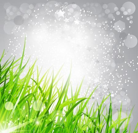 illustration herbe: fond abstrait lumineux: l'herbe sur un fond gris
