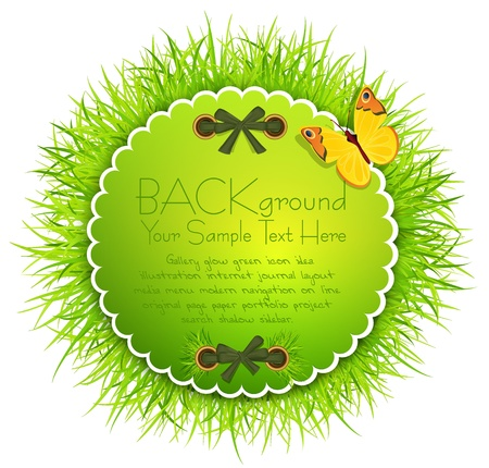 abstract background with round greeting card with grass, butterflies and ribbons Stock Vector - 10049593