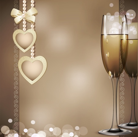 glass heart: romantic congratulatory background with two glasses of white wine, pearls and two hearts