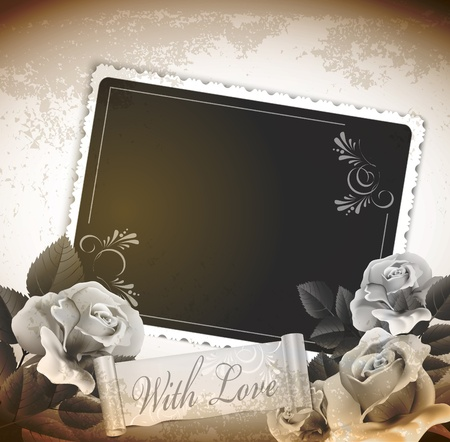 grunge, romantic, vintage background with roses and a card