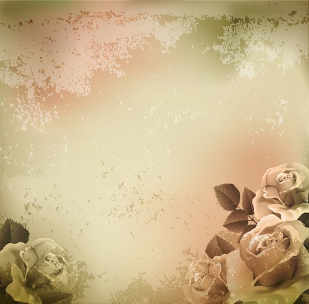 grunge, vintage background with roses Vector