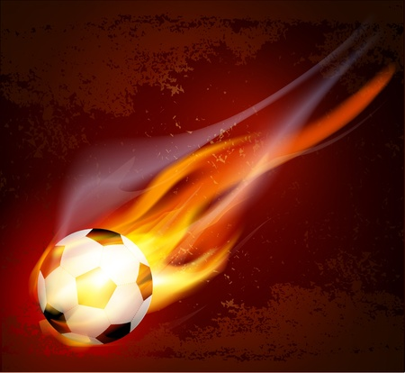 fast ball:  flying flaming soccer ball on a brown background