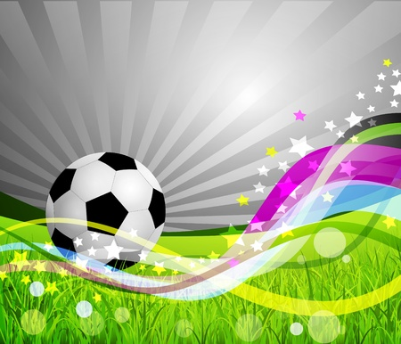Soccer Ball background, grass and colorful wave Vector