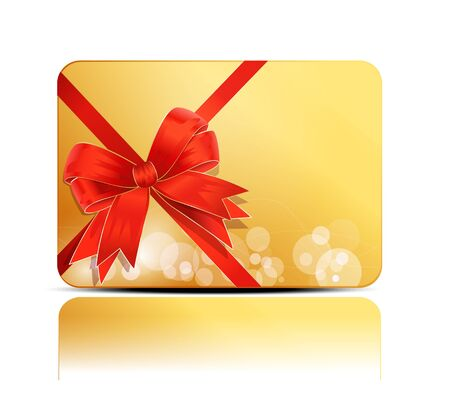 yellow, greeting, business card with a big red bow Vector