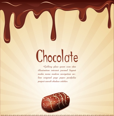 chocolate swirl: holiday background with chocolate candy and chocolate stains Illustration