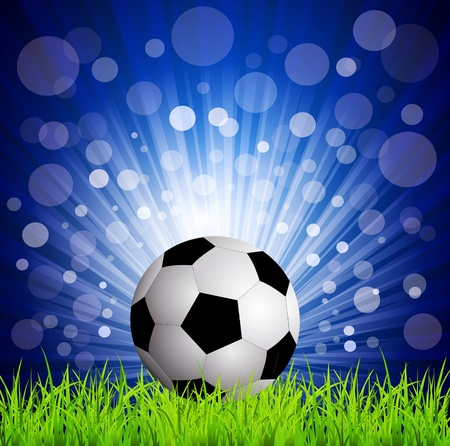 soccer football on grass, on a blue background with rays Vector