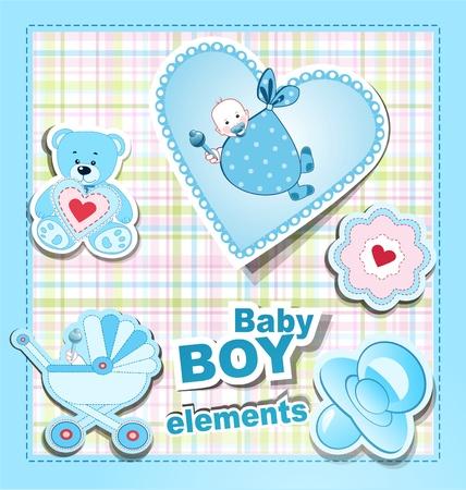 cochecito de bebe: vector de iconos: una colecci�n de elementos de los ni�os para un chico