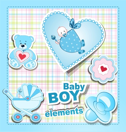 baby goods: vector icons: a collection of childrens items for a boy