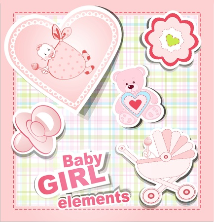 vector icons: a collection of children's items for a girl Stock Vector - 10204177
