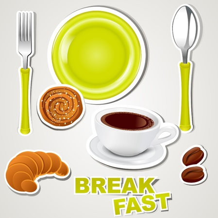 croissant: vector set of icons: breakfast Illustration
