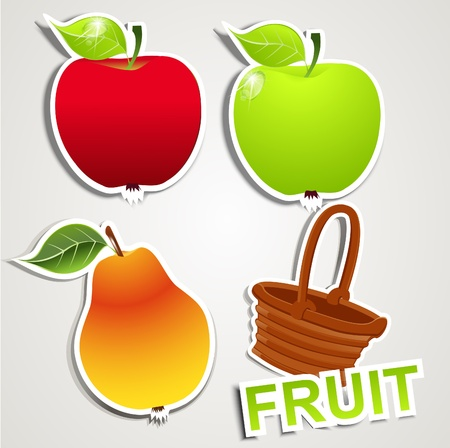 apple leaf: vector set of icons: fruits