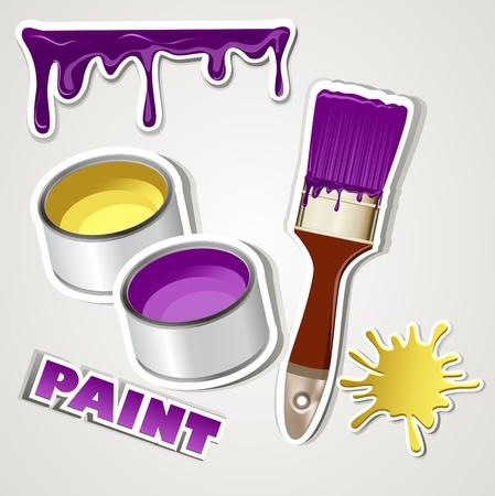 vector set sticker: paint Vector