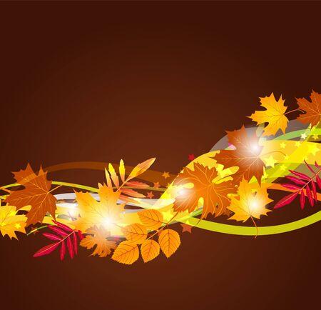 orange swirl: background with autumn leaves