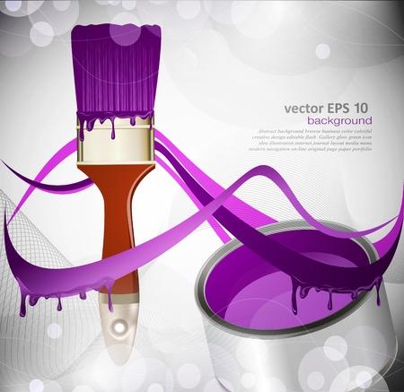 fondo abstracto con un pincel y una lata de pintura púrpura Ilustración de vector