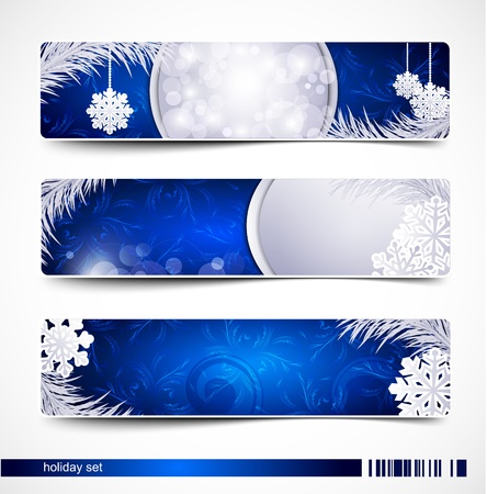 fir twig:  set of Christmas festive banners with snowflakes and silver fir twig