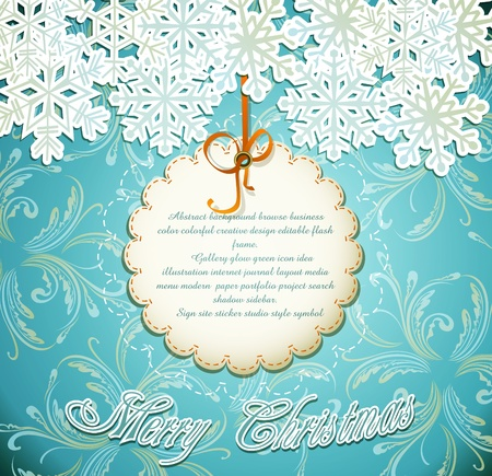snow crystals: emerald festive background with snowflakes Illustration