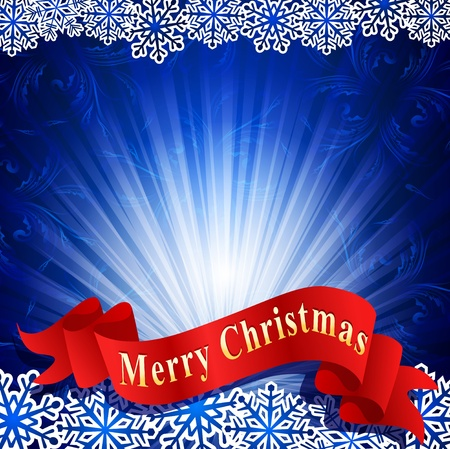 blue festive background with snowflakes and a red ribbon Vector