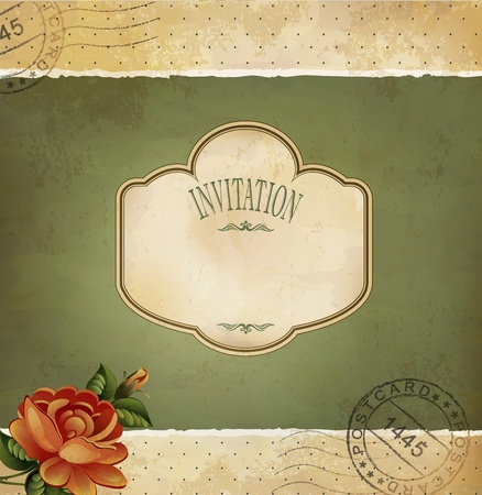 Grunge vintage invitation with a rose and postmarked Vector