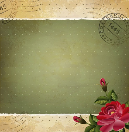 green paper: Grunge vintage invitation with a rose and postmarked Illustration