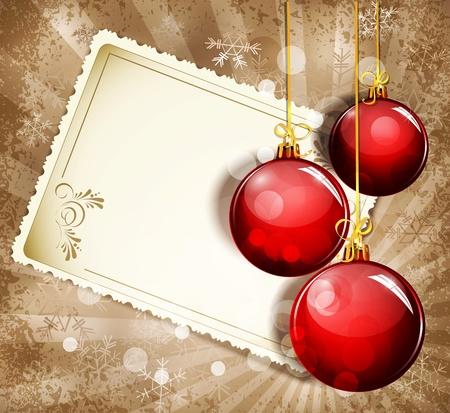 Vintage, grunge achtergrond met sneeuwvlokken, wenskaarten en rode Nieuwjaar ballen