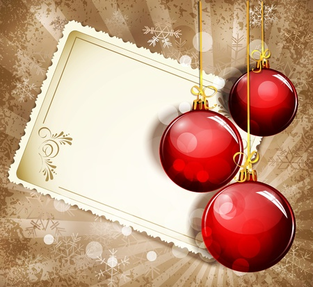 festive season: Vintage, grunge background with snowflakes, greeting cards and red  New Year balls