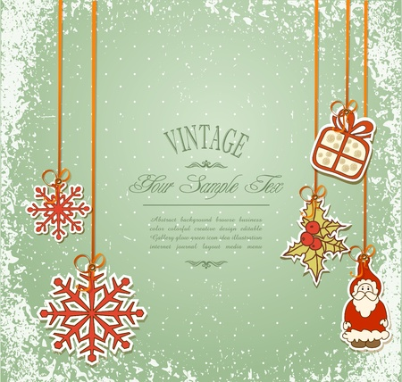Vintage, grungy New Year, Christmas background Vector