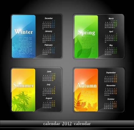 calendar 2012, with four seasons Vector