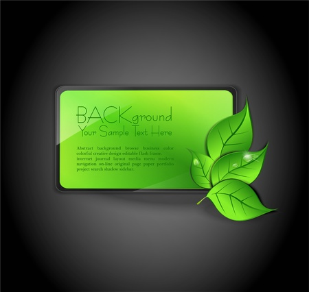 rectangle button: banner with the leaves on a gray background Illustration