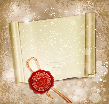 New Years scroll with the wax seal of Santa on a holiday background