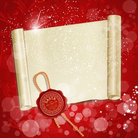 New Years scroll with the wax seal of Santa on a red holiday background