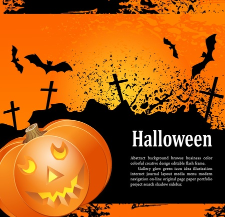 Grunge background for holiday Heluin, with pumpkin, crosses and bats Vector