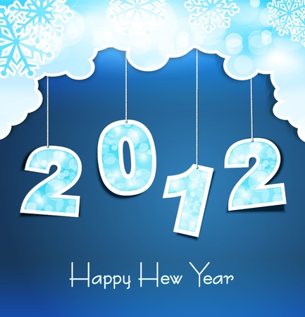 New Year holiday background with the numbers 2012 on the blue sky Vector