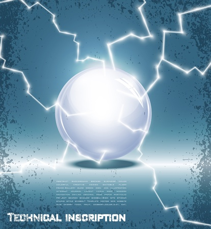 ball lightning: abstract background with a glass ball and lightning Illustration