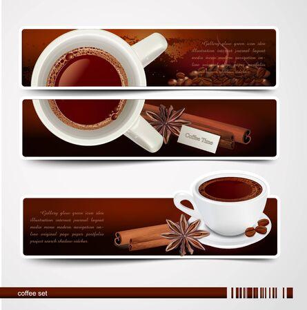 set van banners met koffie