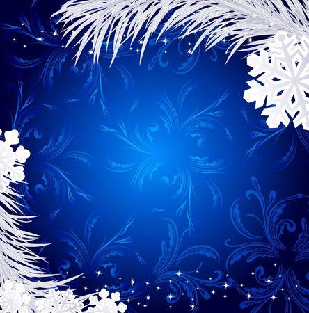 fir twig: Blue Christmas holiday background with snowflakes and silver fir twig